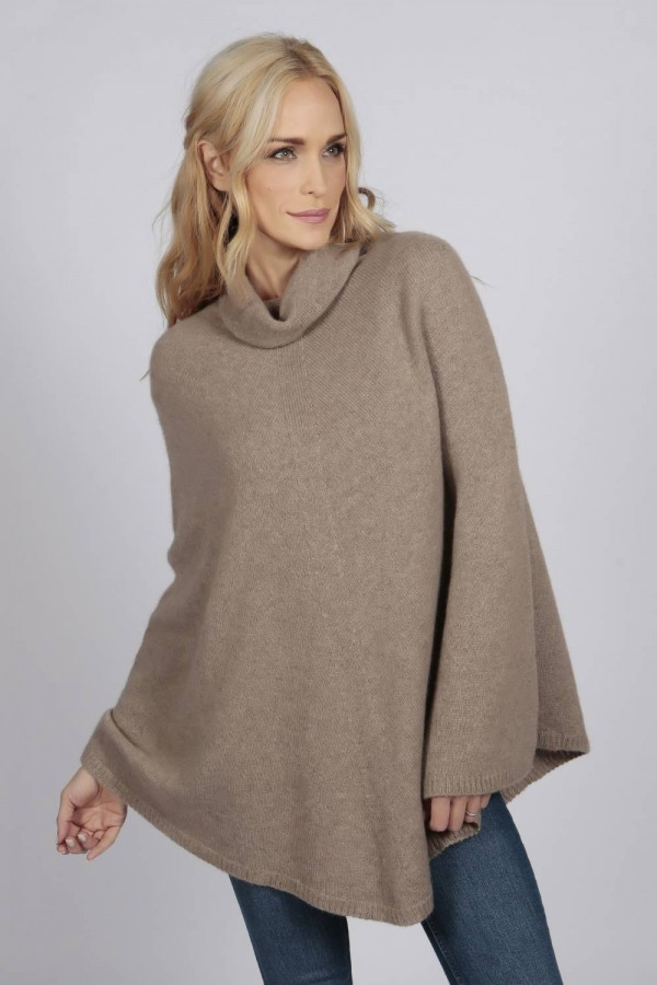 Camel Brown pure cashmere roll neck poncho cape front