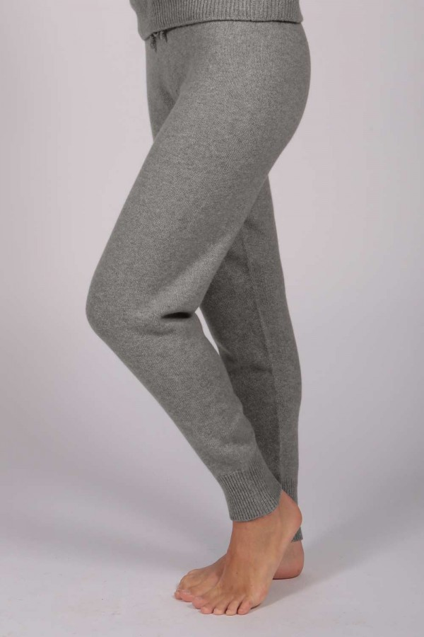 Women's Pure Cashmere Joggers Pants in Light Grey 1