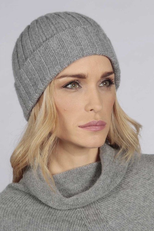 Light grey pure cashmere wide ribbed fisherman beanie hat