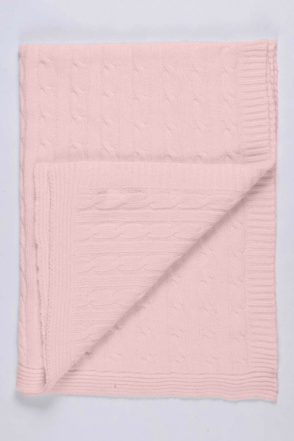 Baby Pink pure cashmere baby blanket cable knit 2