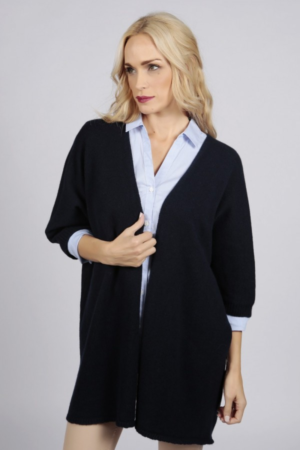 Navy blue pure cashmere duster cardigan front