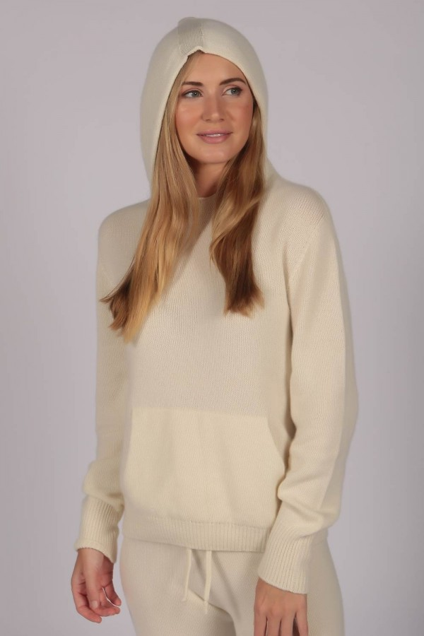 Cream White 100% Cashmere Hoodie for Women front
