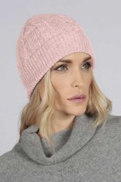 Baby Pink pure cashmere beanie hat cable and rib knit