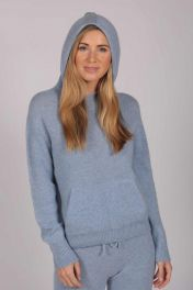 Light Blue 100% Cashmere Hoodie for Women