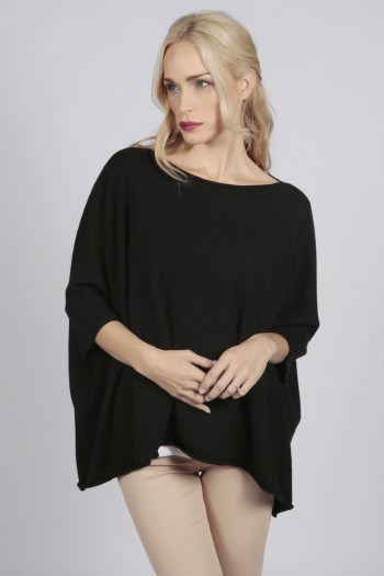 Black pure cashmere short sleeve oversized batwing sweater