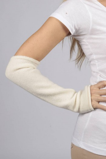 Cream White pure cashmere fingerless long wrist warmer gloves