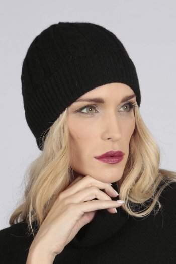 Black pure cashmere beanie hat cable and rib knit