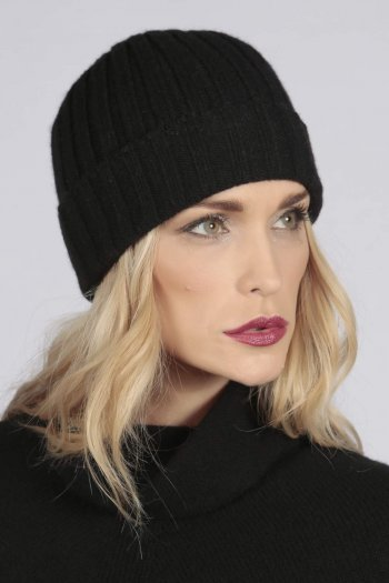 Black pure cashmere wide ribbed fisherman beanie hat