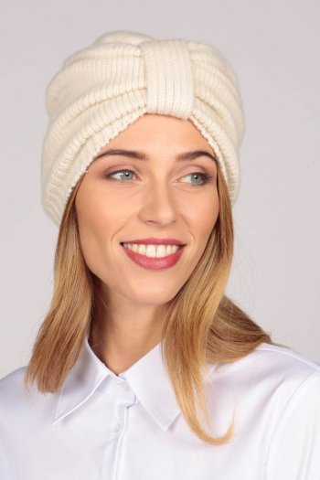 Turbante in cashmere color Bianco panna