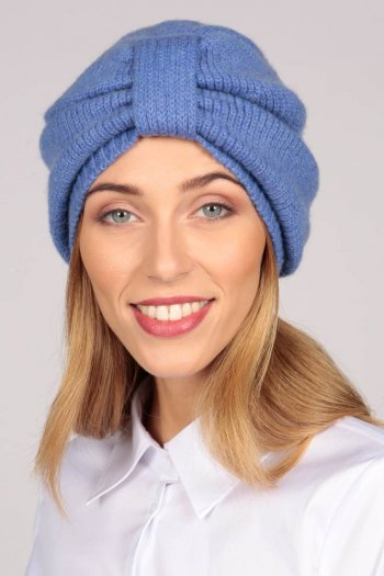 Turbante in cashmere color Blu pervinca