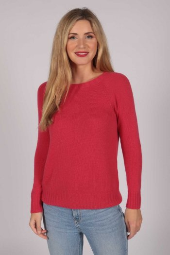 Coral Red Crew Neck Sweater 100% Cashmere