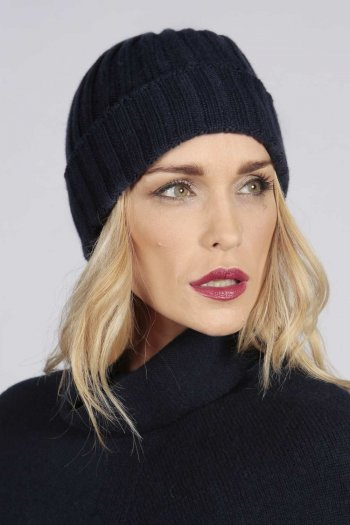Cappello a coste in puro cashmere color Blu navy