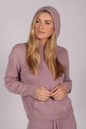 Antique Pink 100% Cashmere Hoodie for Women