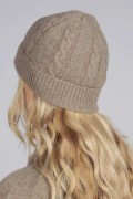 Camel brown beige cashmere beanie hat cable and rib knit 3