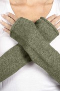 Army Green pure cashmere fingerless long wrist warmer gloves 01