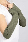 Army Green pure cashmere fingerless long wrist warmer gloves 02