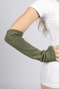 Army Green pure cashmere fingerless long wrist warmer gloves 03