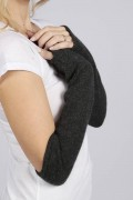 Charcoal Grey pure cashmere fing erless long wrist warmer gloves 2