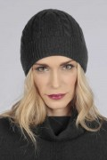 Charcoal grey cashmere beanie hat cable and rib knit  1