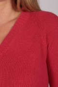 Coral Red V-Neck Cashmere Sweater detail
