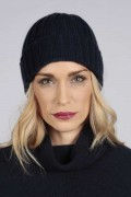Cappello a coste in 100% cashmere Blu navy