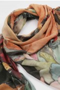 Summer scarf in bamboo wrap square shawl Fox print 02