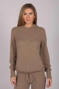 Camel Brown 100% Cashmere Hoodie for Women front 1