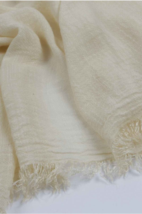 aed9d4f5a27 ... Lightweight Summer Scarf Shawl Wrap 100% Bamboo colour Custard White  close up 01 ...