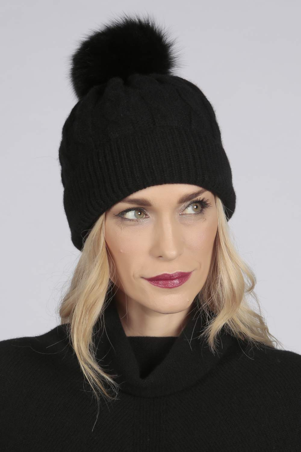825891941 Details about Black pure cashmere fur pom pom cable knit beanie hat MADE IN  ITALY