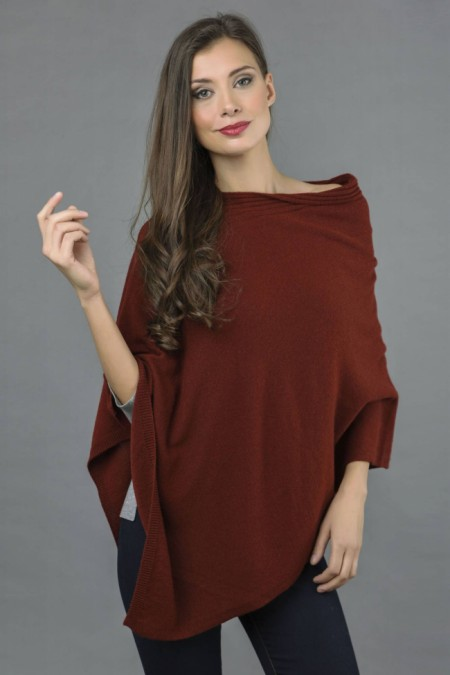 Pure Cashmere Knitted Asymmetric Poncho Wrap in Bordeaux front 1
