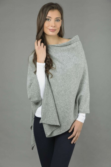 Pure Cashmere Knitted Asymmetric Poncho Wrap in Light Grey front 1