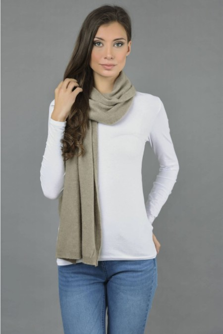 Pure Cashmere Plain Knitted Small Stole Wrap in Camel Brown front 1