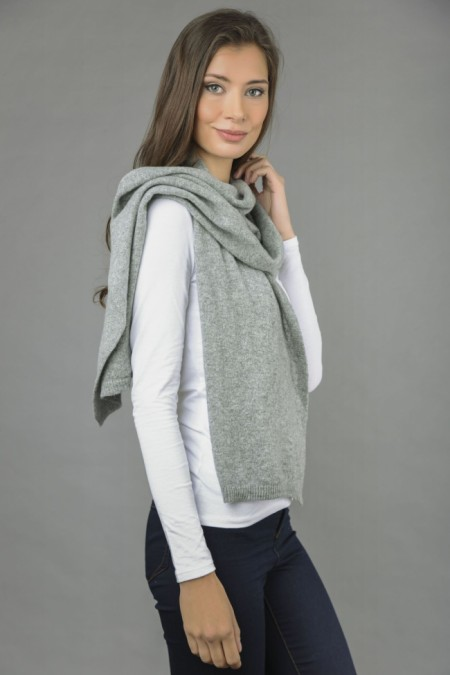 Pure Cashmere Plain Knitted Small Stole Wrap in Light Grey front 1