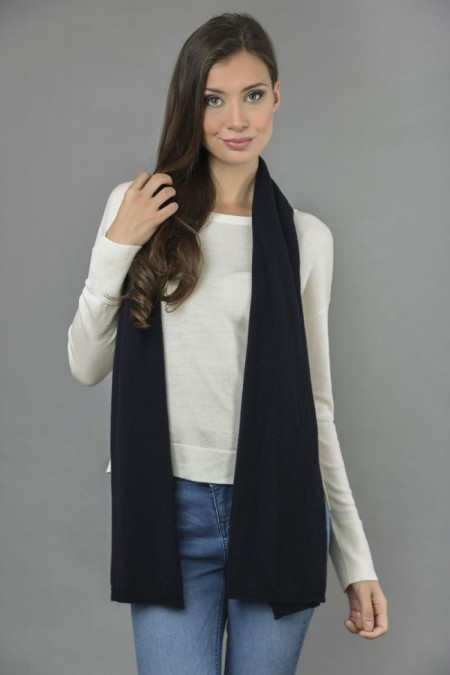 Pure Cashmere Plain Knitted Small Stole Wrap in Navy Blue front 1