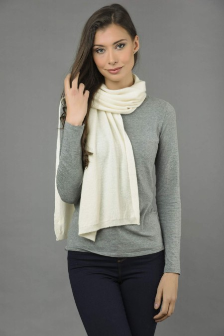 Pure Cashmere Plain Knitted Small Stole Wrap in Cream White front 1