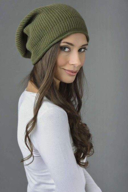 Pure Cashmere Ribbed Knitted Slouch Beanie Hat in Loden Green 1
