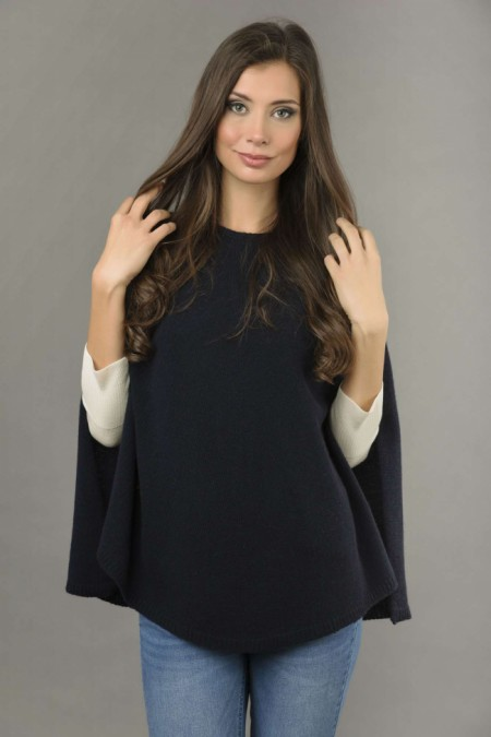 Pure Cashmere Plain Knitted Poncho Cape in Navy Blue front 1