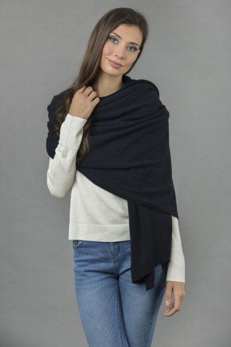 Knitted Pure Cashmere Wrap in Navy Blue front 1