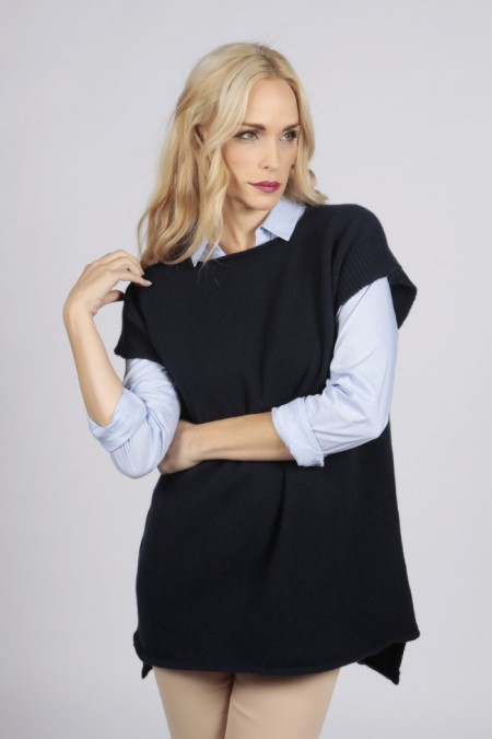 Navy blue women's pure cashmere sleeveless sweater front