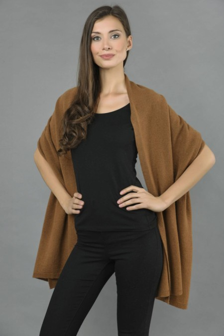 Knitted Pure Cashmere Wrap in Brown front 1