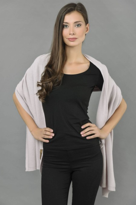 Knitted Pure Cashmere Wrap in Carousel Pink 1