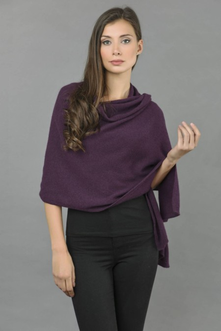 Knitted Pure Cashmere Wrap in Purple front 1