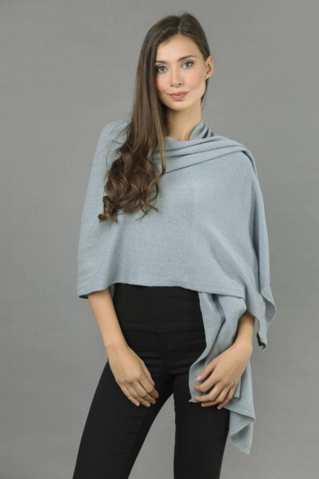 Knitted Pure Cashmere Wrap in Cambridge Blue front 1