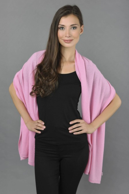 Knitted Pure Cashmere Wrap in Ultra Pink front 1