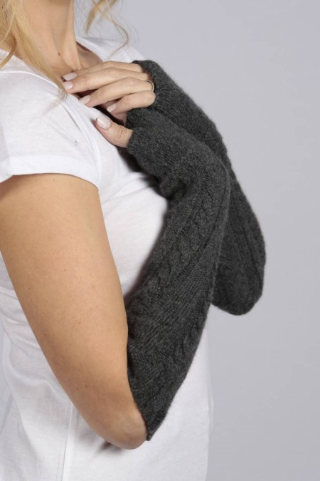 Charcoal Grey cashmere cable knit wrist warmers gloves 1