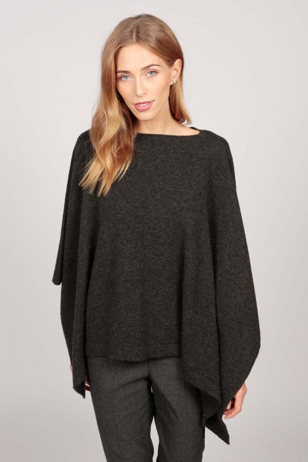 Cashmere boat neck poncho charcoal grey