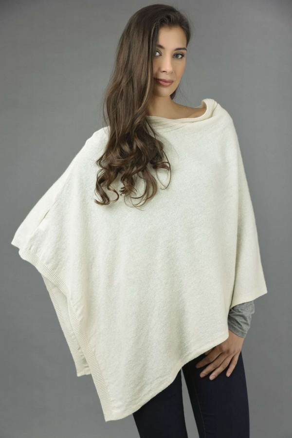 Pure Cashmere Knitted Asymmetric Poncho Wrap in Cream White front 1