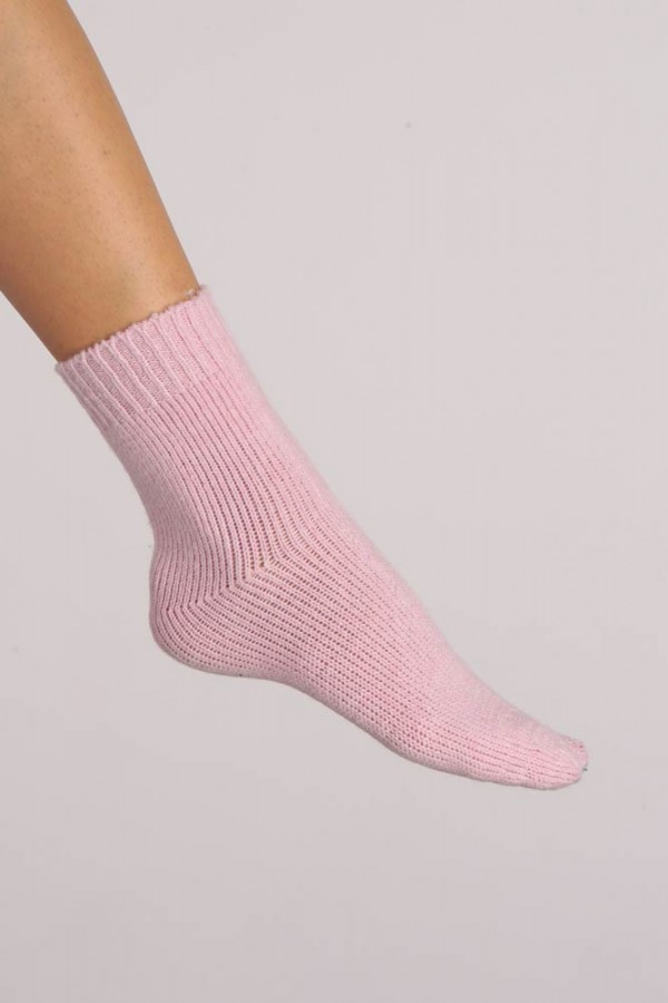 Cashmere Bed Socks in Baby Pink Plain Knit