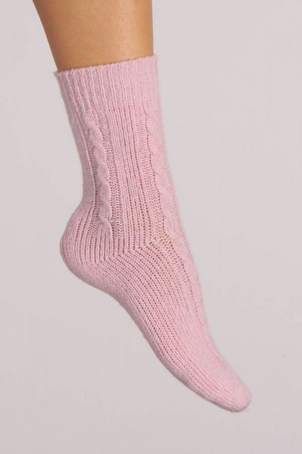 Pure Cashmere Bed Socks in Baby Pink Cable Knit