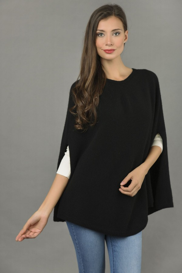 Pure Cashmere Plain Knitted Poncho Cape in Black front 1